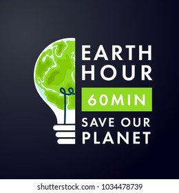 Illustration of Earth hour. Save our planet. Flat design vector illustration for web banner, web and mobile, infographics. Vector