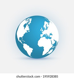 Illustration of the earth isolated on a light background.