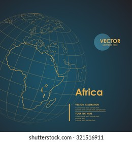 Illustration Earth map of Africa. Modern business line vector background