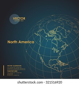 Illustration Earth map of North America. Modern business line vector background