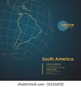 Illustration Earth map of South America. Modern business line vector background