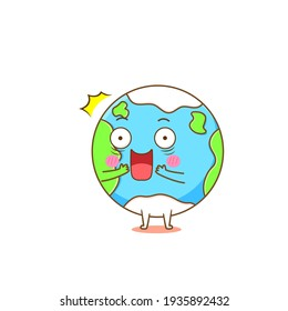 Illustration of earth mascot with cute expression