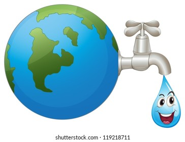 illustration of the earth and a water drop on a white background