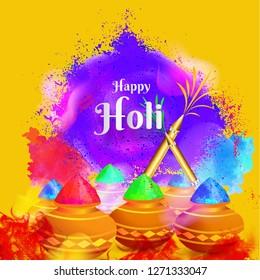 Illustration of earthen pot full of colors on splash background for Happy Holi celebration greeting card design.
