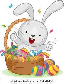 Illustration of an Easter Bunny Sitting in an Easter Basket