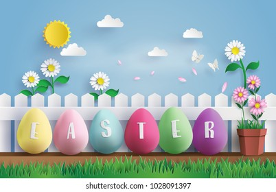 Illustration of Easter day with egg and rabbit in grass,paper art and digital craft style.