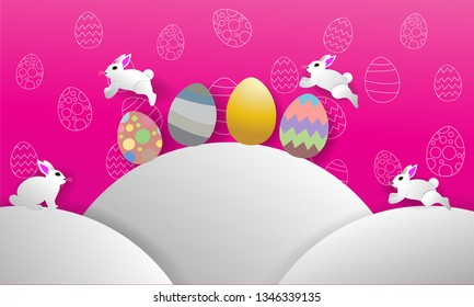 illustration easter day, rabit and agg paper art, background pink