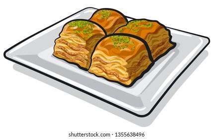 illustration of eastern sweet food baklava on the plate