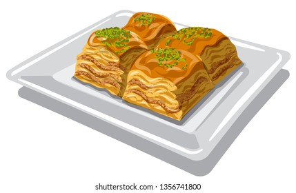 illustration of eastern sweet food baklava on the plate