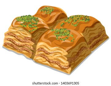 illustration of eastern sweet food dessert baklava