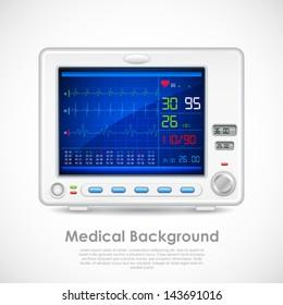 illustration of ECG machine displaying heartbeat