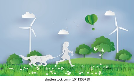 Illustration of eco concept and environment with girl and dog running  field. Paper art and digital craft style.