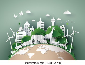 illustration of eco concept and World Wildlife Day with the animal in forest , Paper art and digital craft style.
