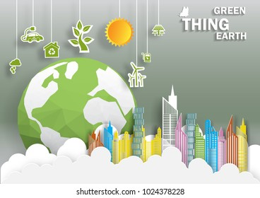 Illustration of eco and world environment day. Paper art trendy craft style.