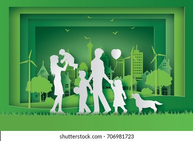 illustration of eco and world environment day with happy family.paper art and  digital craft style.