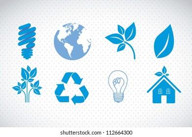 illustration of ecological blue icons on blue background, vector illustration