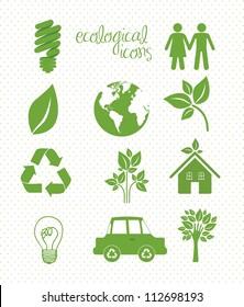 illustration of ecological icons over white  background, vector illustration