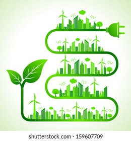 Illustration of ecology concept with leaf icon- save nature