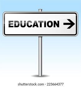 Illustration of education sign on sky background