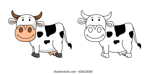 Illustration of educational coloring book vector-cow