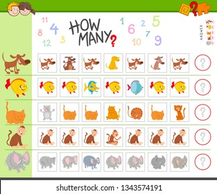 Illustration of Educational Counting Game for Children with Cartoon Animal Characters
