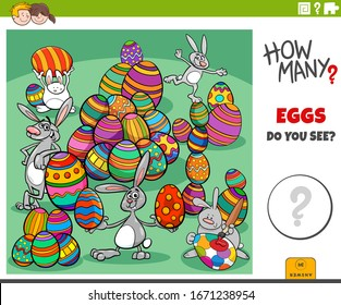 Illustration of Educational Counting Game for Children with Cartoon Easter Eggs and Bunnies Characters Group