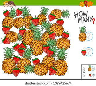 Illustration of Educational Counting Task for Children with Pineapples and Strawberries