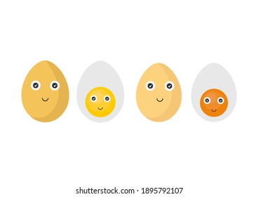 illustration of an egg with a cute smiling face in bright yellow and orange