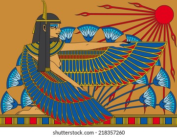 Illustration of a egyptian goddess with wings, papyrus and sun.