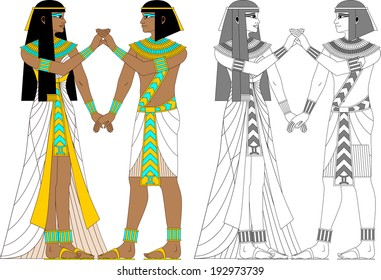 Illustration of egyptian zodiac sign Gemini - twins, man and woman in color and monochrome isolated on white background.