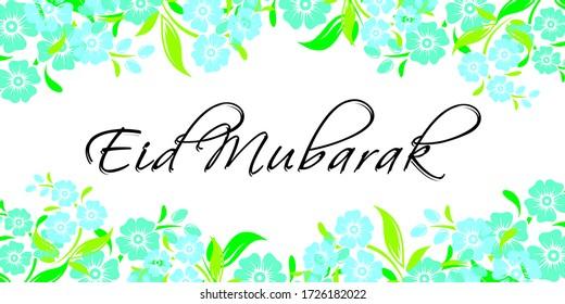 Illustration of Eid  Mubarak with flower background. eps illustration