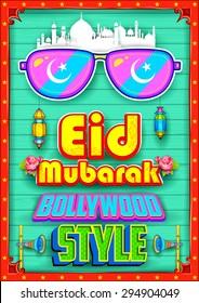 illustration of Eid Mubarak (Happy Eid) background Bollywood Style