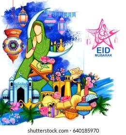 illustration of Eid Mubarak (Happy Eid) background for Islam religious festival on holy month of Ramazan