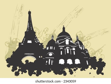 Illustration of the Eiffel tower and the Sacre-Coeur