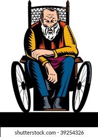 illustration of an elderly handicapped man sitting on wheelchair