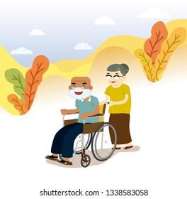 Illustration of elderly people. Grandpa in a wheelchair, grandmom walking near, vector