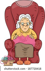 Illustration of an Elderly Woman Happily Knitting Her Spare Time Away