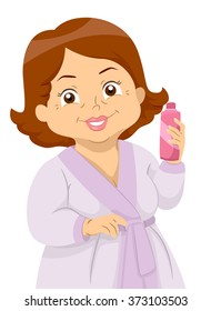Illustration of an Elderly Woman at a Spa Holding a Bottle of Lotion