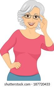 Illustration of an Elderly Woman Wearing a Pair of Eyeglasses