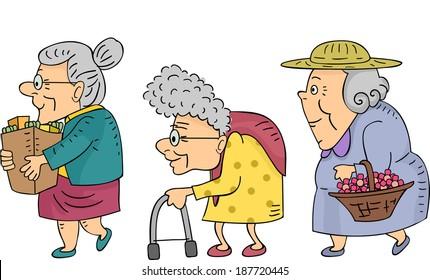 Illustration of Elderly Women Walking in a Line