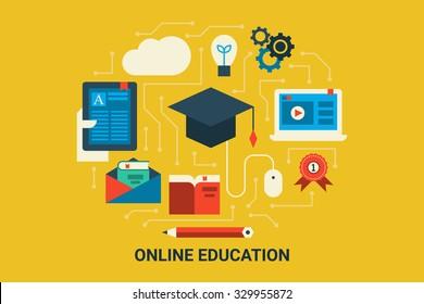 Illustration of e-learning concept flat design background