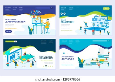 illustration of e-learning, e-book, online education modern vector concepts. Set of web page design templates. Banners website and mobile website development