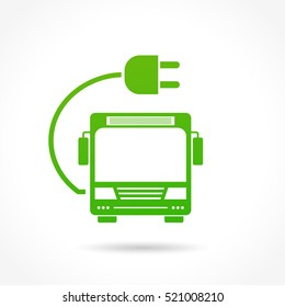 Illustration of electric bus sign on white background