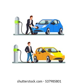 Illustration of an electric car and charging