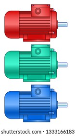 Illustration of the electric motor set side view
