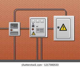 illustration of electric power equipment in the building