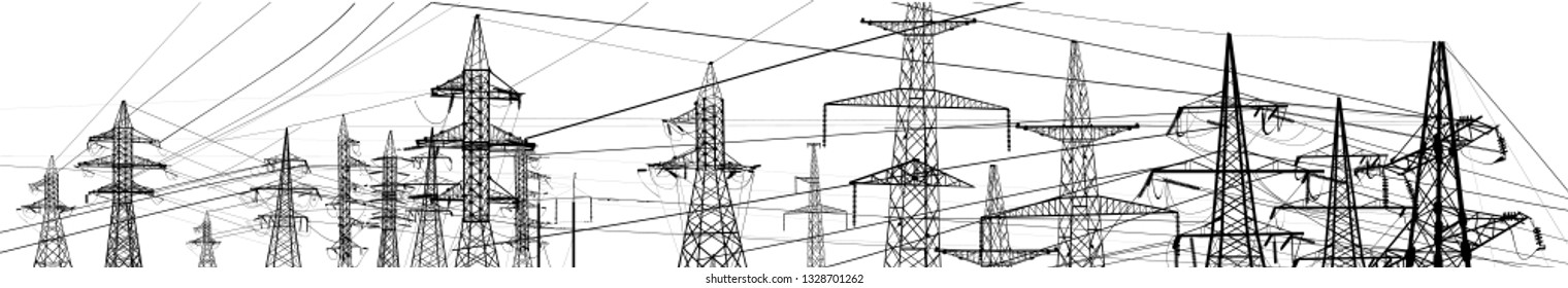 illustration with electric towers isolated on white background