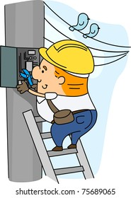 Illustration of an Electrician at Work