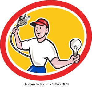 Illustration of an electrician worker holding an electric plug on one hand and a light bulb in the other facing front set inside circle on isolated background done in cartoon style.