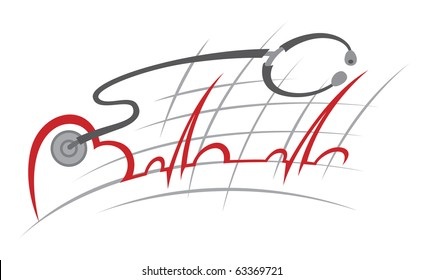 illustration of electrocardiogram and stethoscope